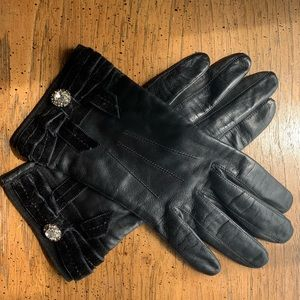 COACH Leather and Cashmere Velvet Trimmed Gloves
